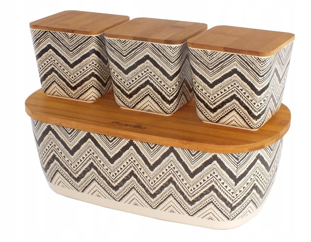 Бамбуков хлебница из бамбукового волокна Kamille KM-1131 с бамбуковой крышкой 3 емкости для хранения