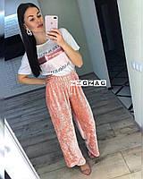 Женские штаны велюровые плиссированные