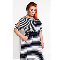 Сукня жіноча з поясом в смужку великих розмірів, фото 3