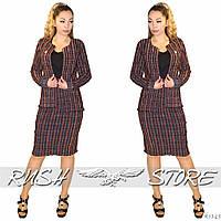 Классический женский костюм в клетку Юбка и пиджак, фото 1