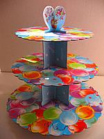Этажерка для капкейков  Воздушные шарики  из 3-х ярусов