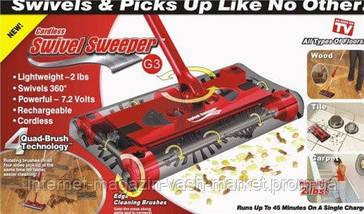 Электровеник Swivel Sweeper G6 | электрошвабра (Свивел Свипер Джи6) Електровіник для прибирання, фото 3