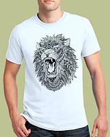 0015-TSRA-150-WH Мужская футболка «Лев» Белая