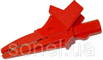 Затискач «Крокодил» ізольований червоний K02