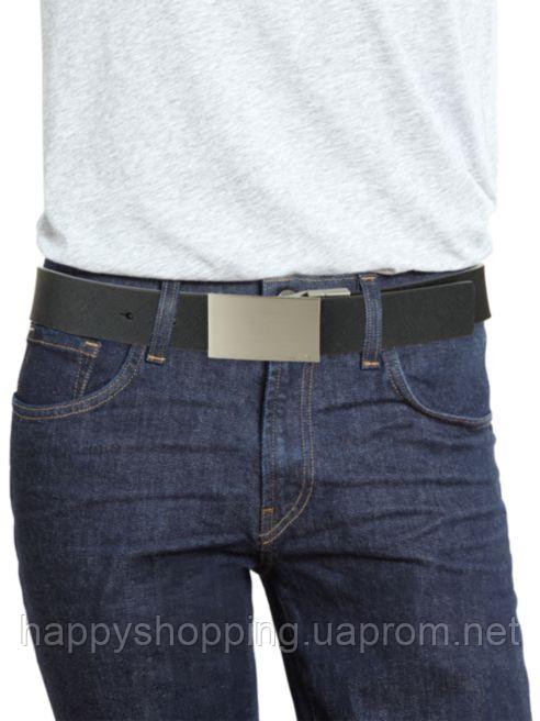 Мужской двусторонний черный кожаный ремень популярного бренда Calvin Klein