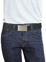 Мужской двусторонний черный кожаный ремень популярного бренда Calvin Klein, фото 1