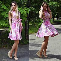 Летнее коттоновое платье с поясом розового цвета