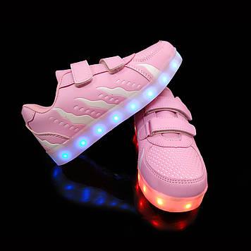 Кроссовки с LED подсветкой детские Pink W81