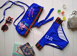 Детский раздельный купальник синий со съемными бретелями Good Luck 34-42р
