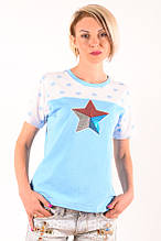 """Женская футболка голубая с нашивкой  """"Звезда"""" большие размеры 40-54"""