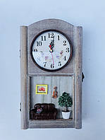 Ключница настенная с часами Dahlias К-10, фото 1