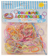 Резинки для плетения Rainbow Loom Bands 200шт. полупрозрачные микс Ассорти 1003 +крючок