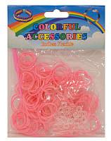 Резинки для плетения Rainbow Loom Bands 200шт. однотонные Розовые 1238 +крючок