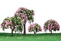 Набор деревьев 4 шт., цветущая сакура, для диорам, миниатюр, детского творчества, фото 1