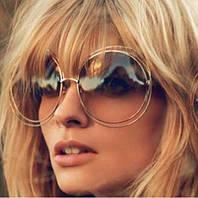 """Модные женские солнцезащитные очки, хит сезона, круглая форма, """"полая"""" оправа золотистого цвета"""