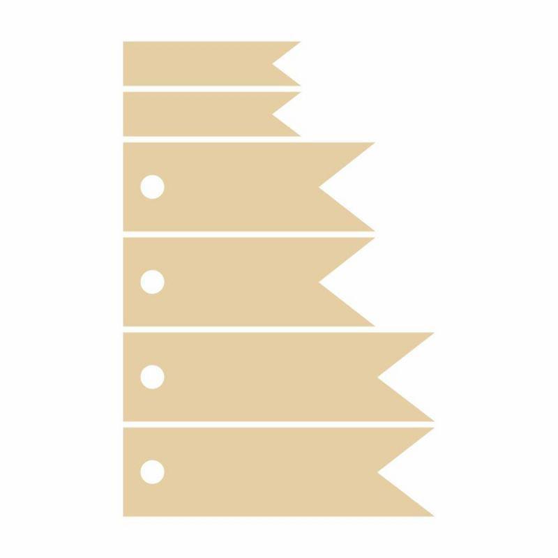 Высечки из картона Rosa Talent набор Флажок ассорти 6шт 4801478