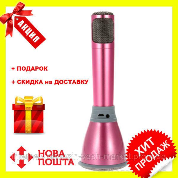 Беспроводной микрофон К-068 bluetooth для караоке / Tuxun k068 с динамиком (Розовый), Новинка