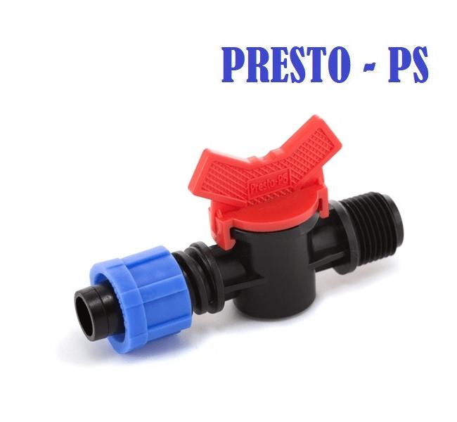 Кран для капельной ленты с 1/2 наружной резьбой  Presto