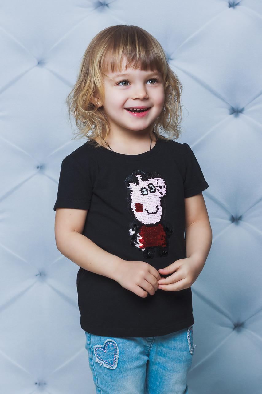 Футболка детская с паетками свинка Пепа