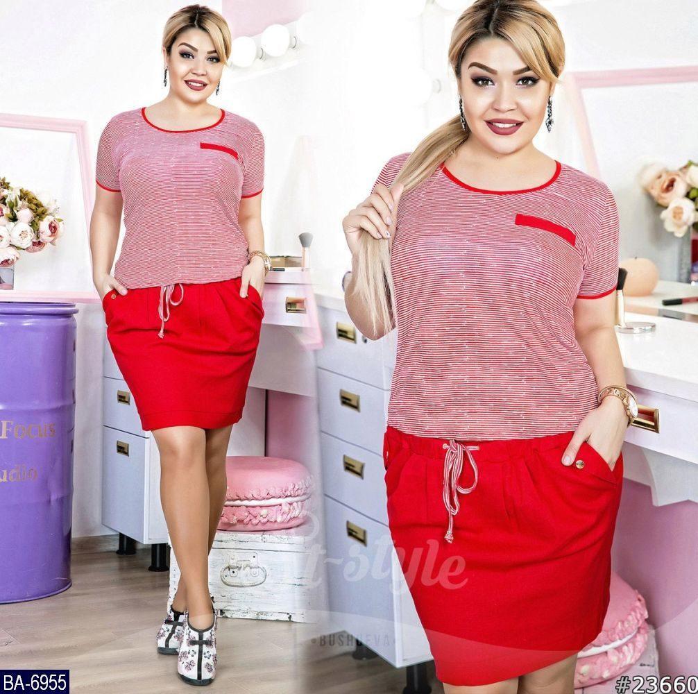 Костюм женский футболка и юбка. Два цвета. Ткань лен+ трикотаж. Размеры 48, 50, 52, 54
