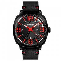 Стильные фирменные часы Skmei 1351 красные водонепроницаемый (5АТМ)