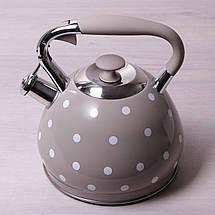 Чайник белый в черный горошек 3 литра kamille 0695 an со свистком, фото 2