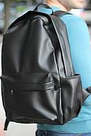 Рюкзак кожаный повседневный мужской, женский / черный