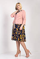 Красивый женский комплект платье и жакет синий, фото 1