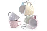 """Чашки на подставке набор 7 пр. """"Няшка""""  240 мл., сервиз чайный на подставке в горох"""