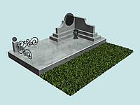 3d проект памятник мраморный (комплекс, 3х ступенчатый)