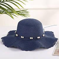 Пляжная женская шляпа синяя с волнистимы краями, фото 1