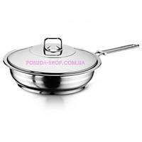 Сковорода из нержавеющей стали с крышкой 24 см Hascevher Gastro 3TVCLK0024011