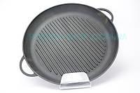 Чугунная сковорода гриль круглая с двумя литыми ручками 20 см Ситон
