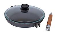 Сковорода чугунная Биол Оптима со стеклянной крышкой 28 см