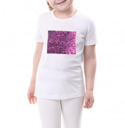 Детская футболка размер 146 с пайетками цв. ФИОЛЕТОВЫЙ под сублимацию