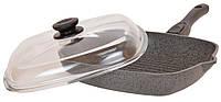 Сковорода-гриль Биол Гранит грей со стекляной крышкой 28 см 28144ПС
