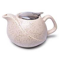 """Заварочный чайник керамический 0,75 л """"Белый песок"""" с ситечком 9389"""