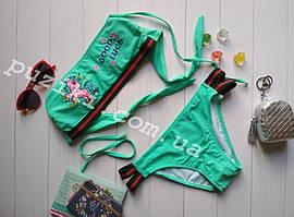 Купальник раздельный зеленого цвета с пони из пайеток для девочки 34-42р