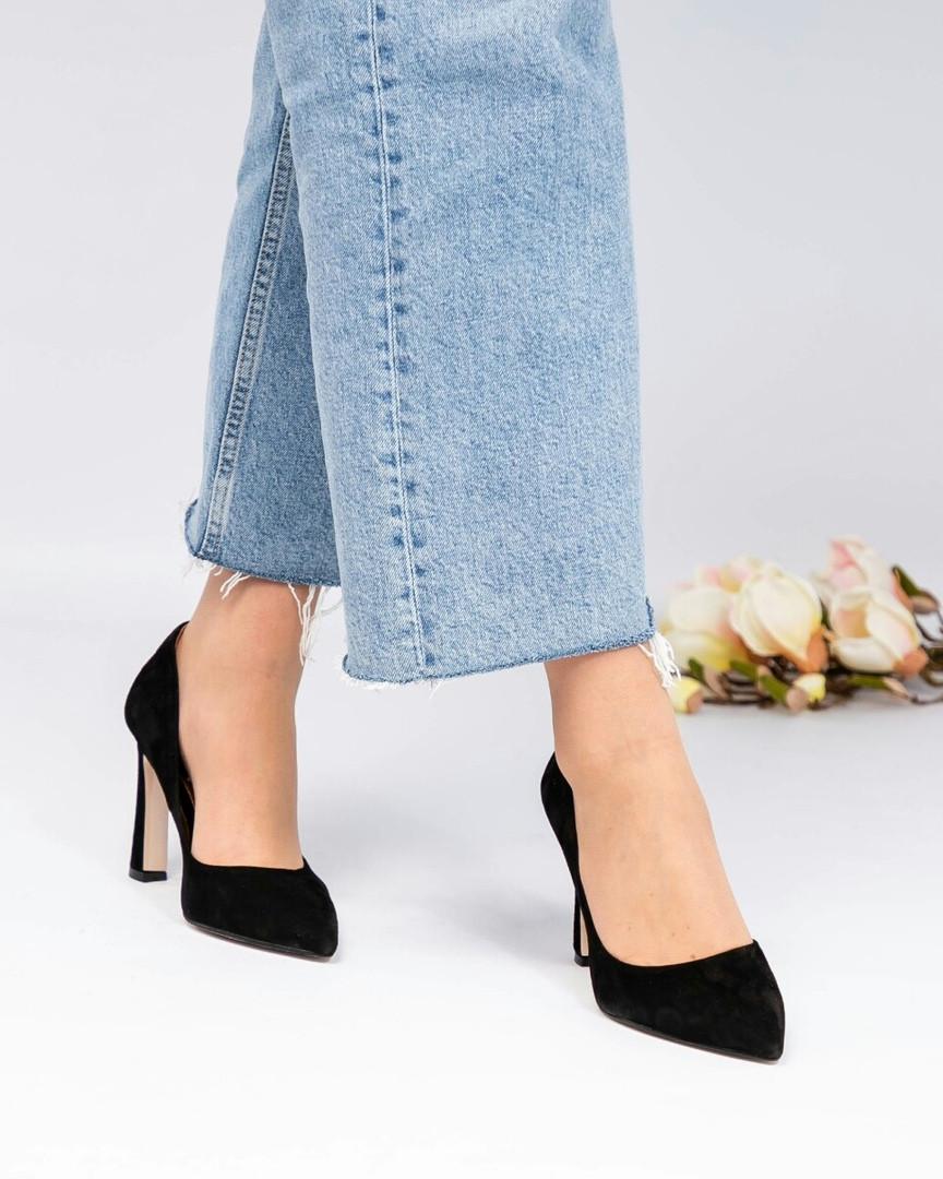 Туфли-лодочки женские замша черные