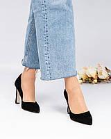 Туфли-лодочки женские замша черные, фото 1