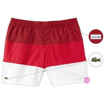 Мужские шорты Lacoste (ориг.бирка) бордовый/красный/белый