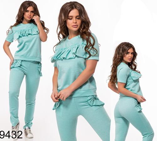 Женский модный спортивный костюм с рюшами (бирюза) 829432
