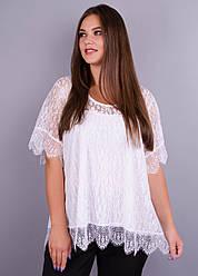 Квітка. Гіпюрова блузка великих розмірів. Білий.