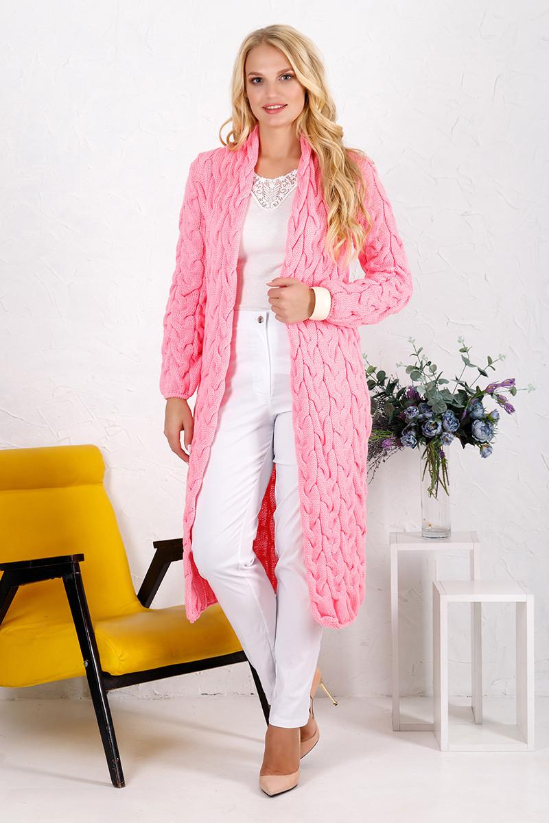 Кардиган вязаный длинный розовый