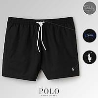 Мужские черные пляжные/купальные шорты с сеткой поло ральф лорен (Polo Ralph Lauren), реплика
