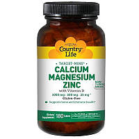 Кальций, магний, цинк и витамин D, 180 таблеток, Country Life