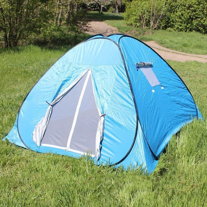 Палатка туристическая  4х- местная автомат самораскладывающаяся 200х200 см (Голубая)