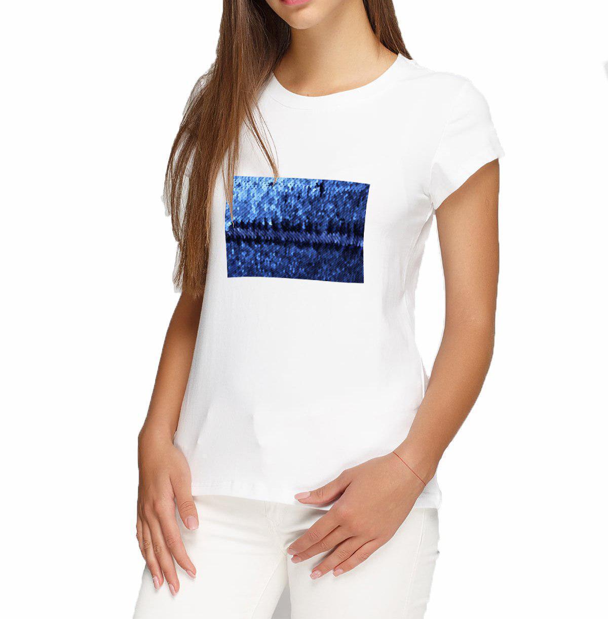 Женская футболка L с пайетками цв. СИНИЙ под сублимацию
