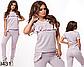 Трикотажный модный  спортивный костюм с люрексом (серый) 829430, фото 2