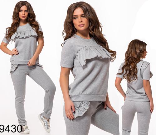 Трикотажный модный  спортивный костюм с люрексом (серый) 829430